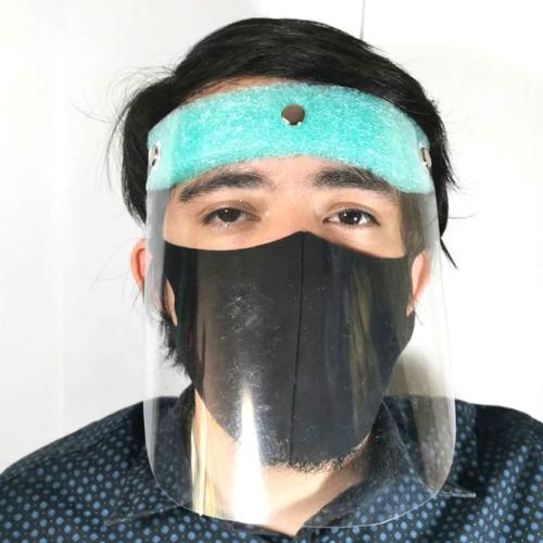 careta con cubrebocas protector facial pvc mascarilla lavabl
