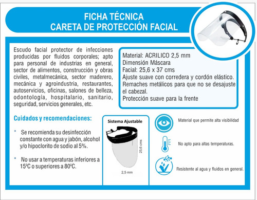 careta de proteccion facial contra virus en acrilico 3mm