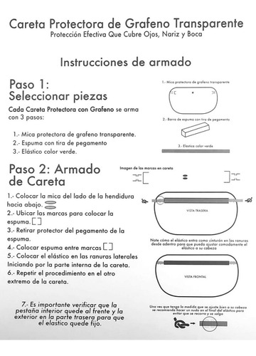 careta facial protector mayoreo 10 pzs grafeno 3 capas pet