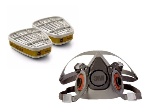 careta mascara respirador ref 6200 + 2 filtros 6006 3m