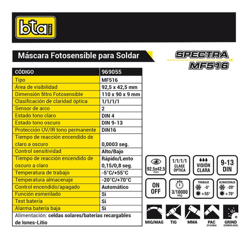 careta máscara soldar fotosensible bta mf516 simil esab a-30