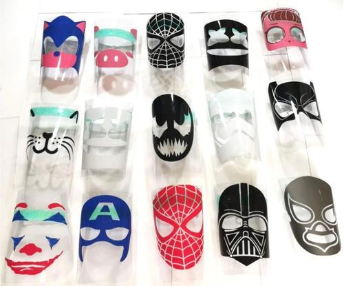 careta protector impresa visor mayoreo 5 pzs spiderman joker