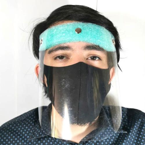 careta pvc con cubrebocas mayoreo 5 pzs protección facial