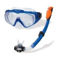 careta + snorkel intex con válvula  rompeolas y purga