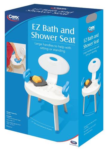 carex health brands e-z asiento de baño y ducha con asas