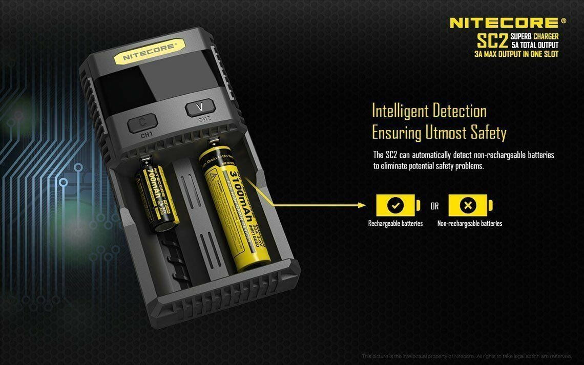 Nitecore sc2-3a cargador de carga rápida para 18650 batería Li-ion