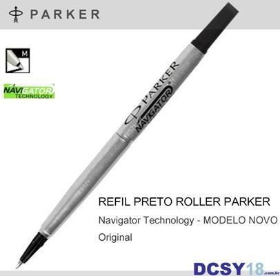 carga parker roller ball - refil tinta preta - média