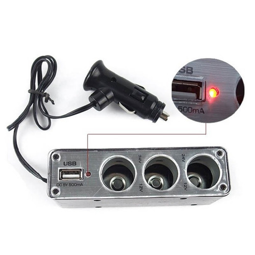 cargador 12v 24v usb 5v cigarrera adaptador carro socket