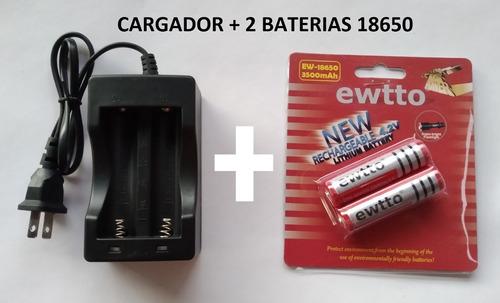 cargador 18650 doble + 2 batería recargable li-on 3.7v 4.2v