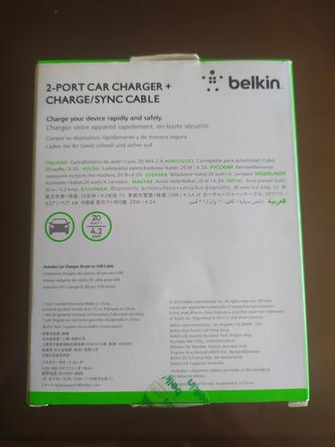 cargador 2 en 1 belkin pra carro doble puerto android iphone