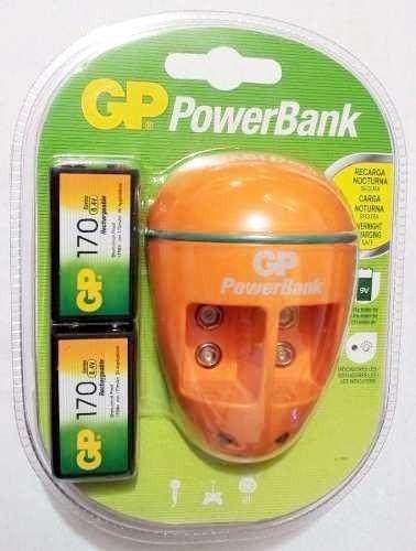 cargador 9v voltios recargable gp power bank con 2 bateria