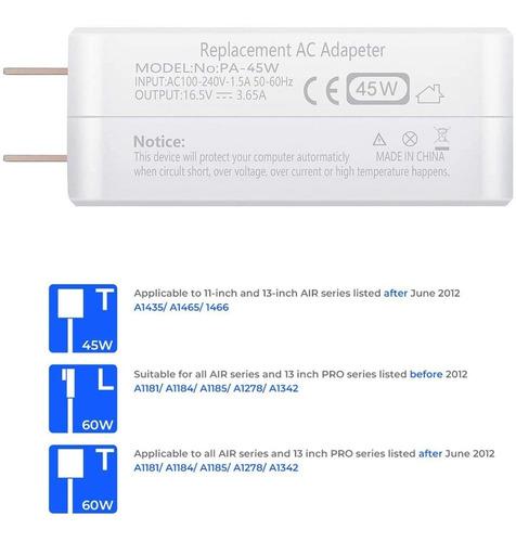 cargador ac para mac book air 11  13  a1466 a1436 a1465