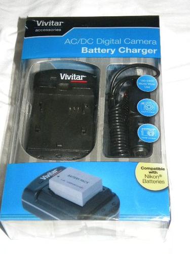 cargador ac/dc de bateria de camara fotografica