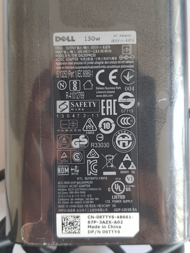 cargador adaptador nuevo marca dell mod.da130pm130