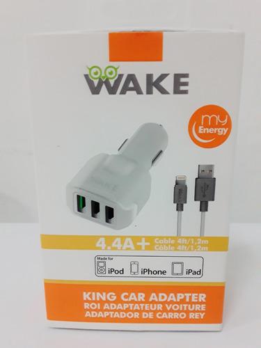 cargador ahorrador wake king iphone 5/6/7 100% americano 3 p