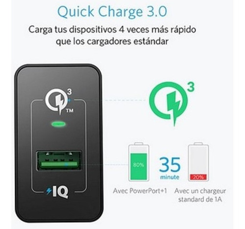 cargador anker pared 18w 3amp pared quick charge 3.0 new