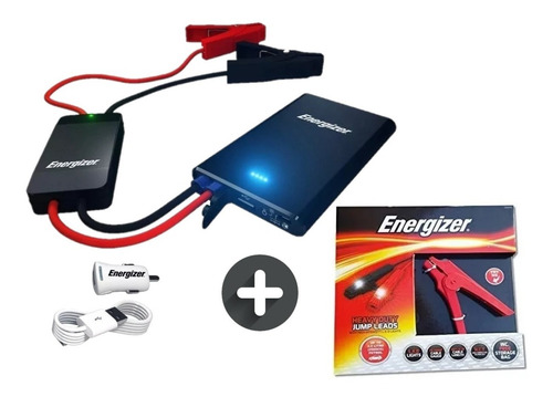 cargador arrancador auto moto portatil bank power + cables