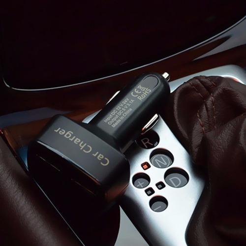 cargador auto 2 usb voltimetro e indicador de temperatura.