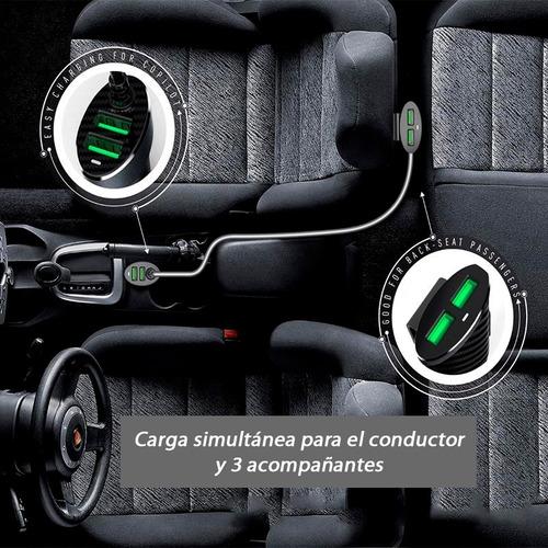 cargador auto premium rapido 4 usb con alargue acompañantes