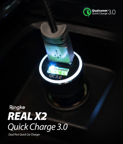 cargador auto ultra rapido ringke quick charge 3.0 qualcomm