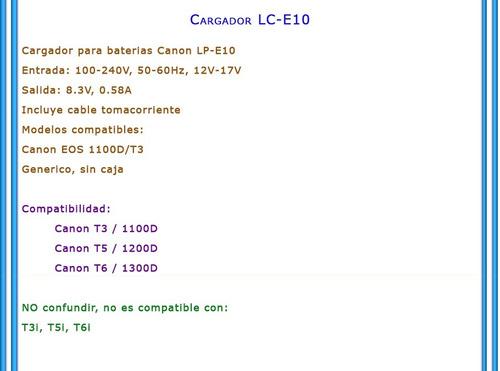 cargador bateria lp-e10 lc-e10c para canon t3 t5 t6 1300d