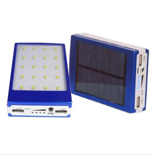 cargador bateria solar 5000mah con lampara 20 led ypt