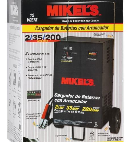 cargador  baterias con arrancador 200 amp 12v mikels
