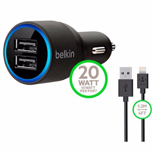 cargador belkin dual para carro + cable iphone o cable v8