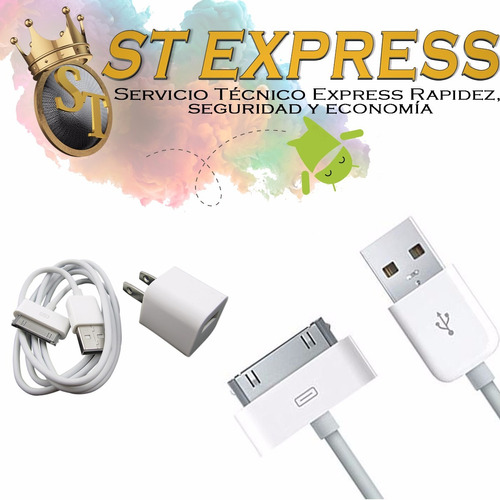 cargador + cable apple iphone 4 4s ipad 1 2 3 4 ipod
