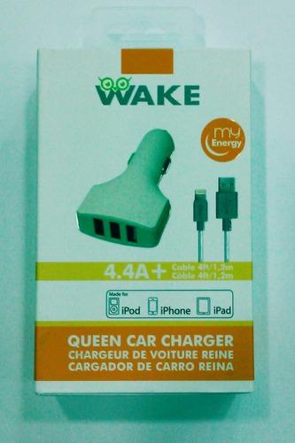 cargador carro + cable wake iphone 5 / 6 /7 4.4a usb x 3 ti