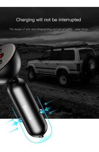 cargador celular auto rapido doble usb turbo baseus samsung