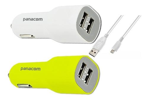 cargador celulares 12v doble usb auto 2a + 2 colores + cable
