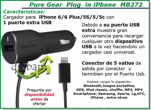 cargador coche iphone lightning pure gear 1puerto usb