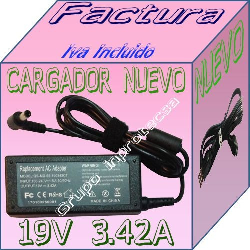 cargador compatible con laptop ms msi vr620 19v 3.42a