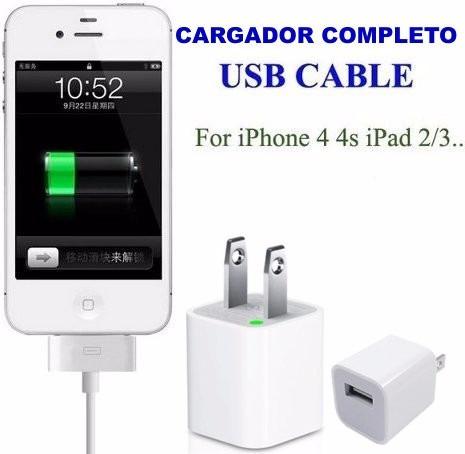 cargador completo certificado usb iphone 4 4s todoa1