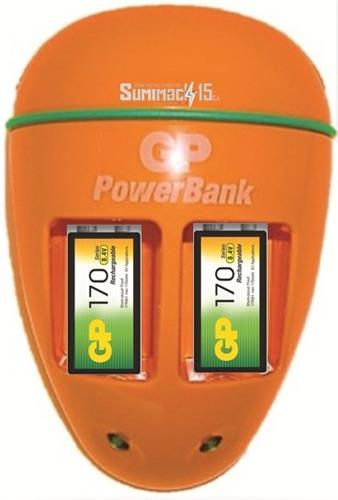 cargador con 2 baterias recargables 9v 170mah marca gp