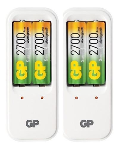cargador con 4 baterias recargables aa 2700mah marca gp
