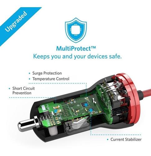 cargador de auto - anker 12w - con conector lightning iphone