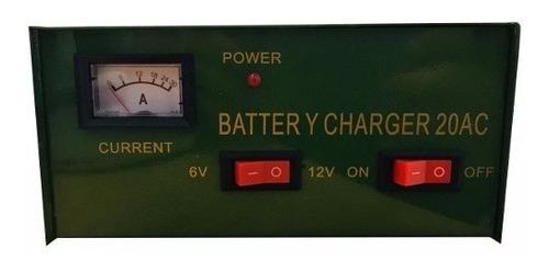 cargador de bateria 12v y 6v autos motos 20 amperes 20a