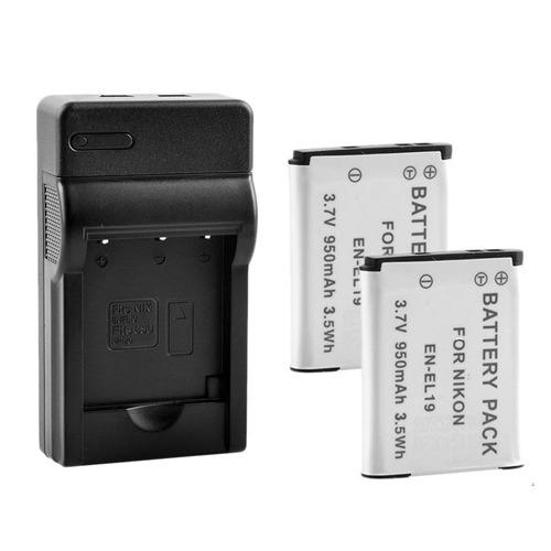 2x Batería 500mAh para Nikon CoolPix S6400 S3500 S6900 EN-EL19