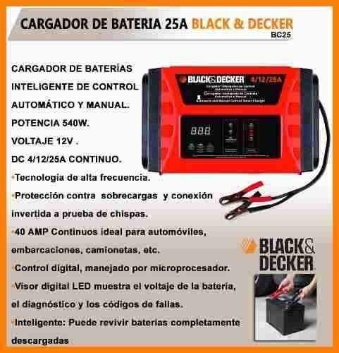 cargador de bateria inteligente black decker 25amp 540w bc25