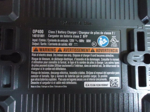 cargador de bateria ryobi 40v modelo: op400