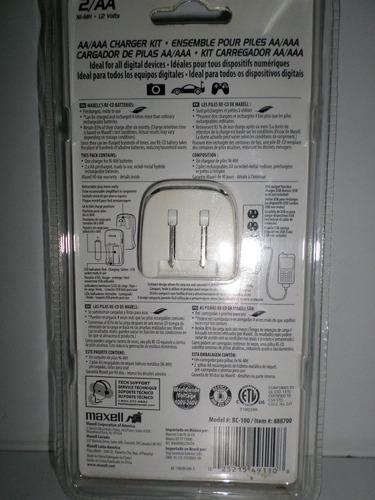 cargador de baterias aa maxell con usb