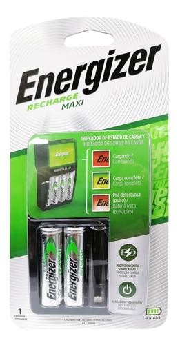 cargador de baterias energizer maxi + 2 pilas aa 1300mah