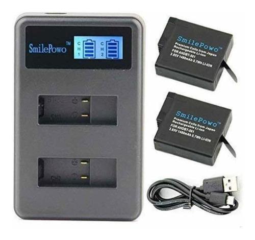 cargador de baterías go pro hero 5, 6 y 7 + dos baterías