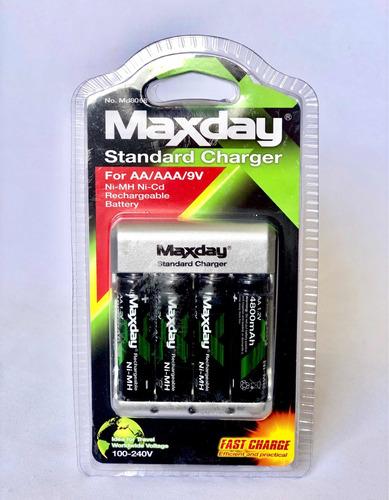 cargador de baterías recargables aa y aaa - maxday