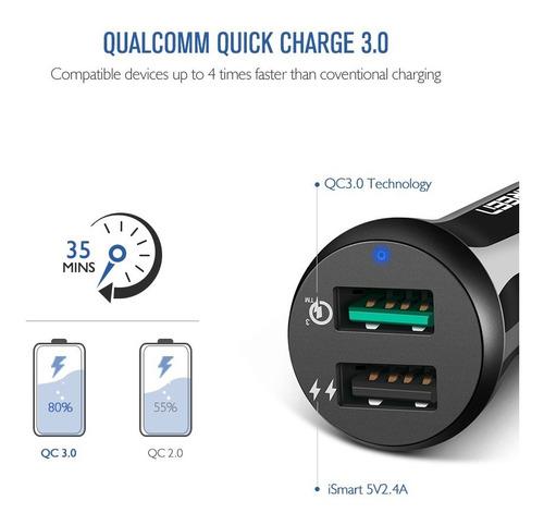 cargador de carro carga rápida qualcomm qc3.0 - doble usb