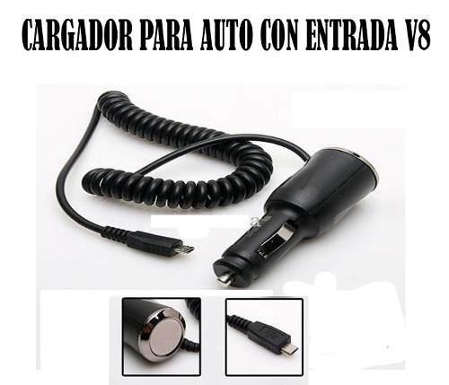 cargador de carro compatible entrada v8