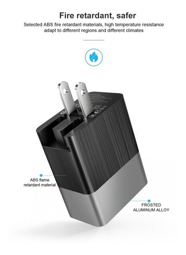 cargador de pared 18w qc3.0 y pd usb-c smarthpone ipad
