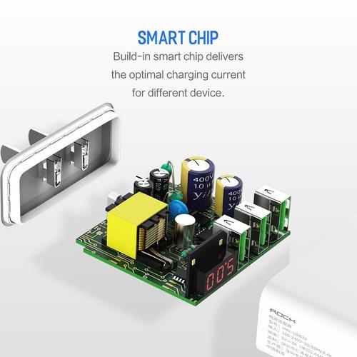 cargador de pared carga rápida 3 puertos usb pantalla led ng